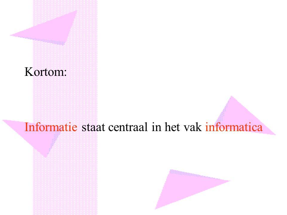 Kortom: Informatie staat centraal in het vak informatica