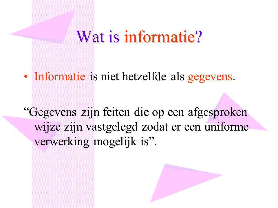 """Wat is informatie? Informatie is niet hetzelfde als gegevens. """"Gegevens zijn feiten die op een afgesproken wijze zijn vastgelegd zodat er een uniforme"""