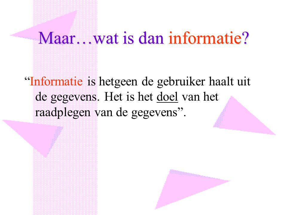 """Maar…wat is dan informatie? """"Informatie is hetgeen de gebruiker haalt uit de gegevens. Het is het doel van het raadplegen van de gegevens""""."""