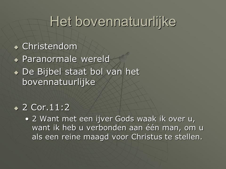 Het bovennatuurlijke  Christendom  Paranormale wereld  De Bijbel staat bol van het bovennatuurlijke  2 Cor.11:2 2 Want met een ijver Gods waak ik