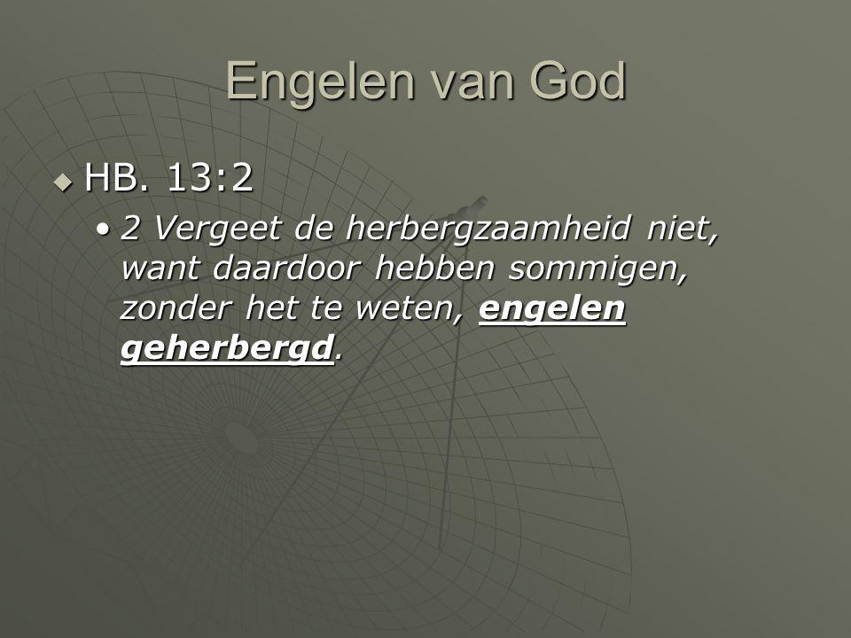 Engelen van God  HB. 13:2 2 Vergeet de herbergzaamheid niet, want daardoor hebben sommigen, zonder het te weten, engelen geherbergd.2 Vergeet de herb