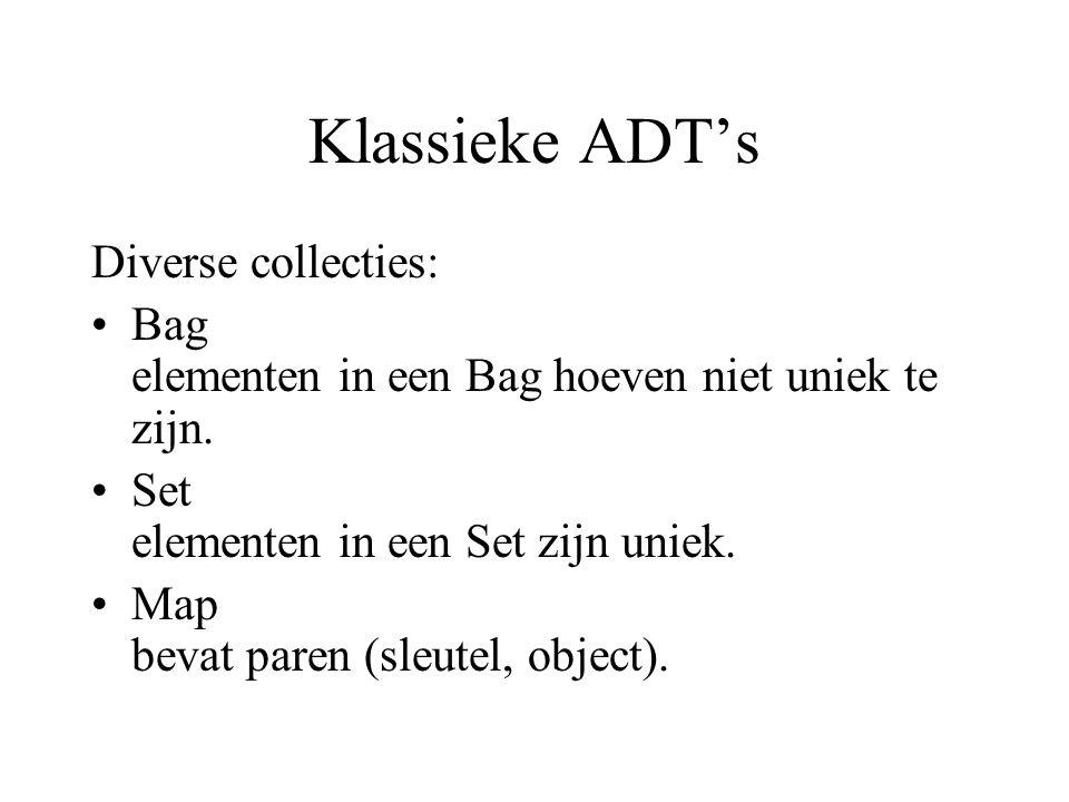 Klassieke ADT's Diverse collecties: Bag elementen in een Bag hoeven niet uniek te zijn. Set elementen in een Set zijn uniek. Map bevat paren (sleutel,