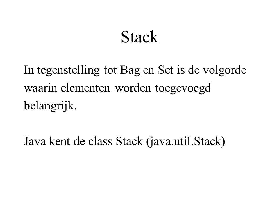 Stack In tegenstelling tot Bag en Set is de volgorde waarin elementen worden toegevoegd belangrijk. Java kent de class Stack (java.util.Stack)