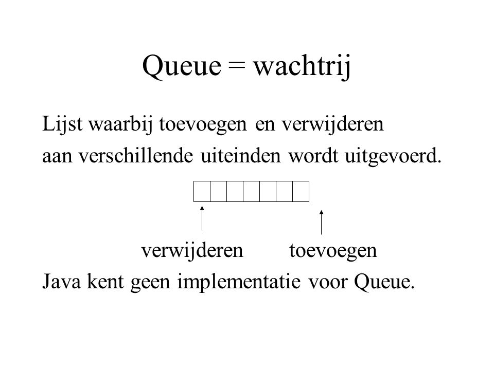 Queue = wachtrij Lijst waarbij toevoegen en verwijderen aan verschillende uiteinden wordt uitgevoerd. verwijderentoevoegen Java kent geen implementati