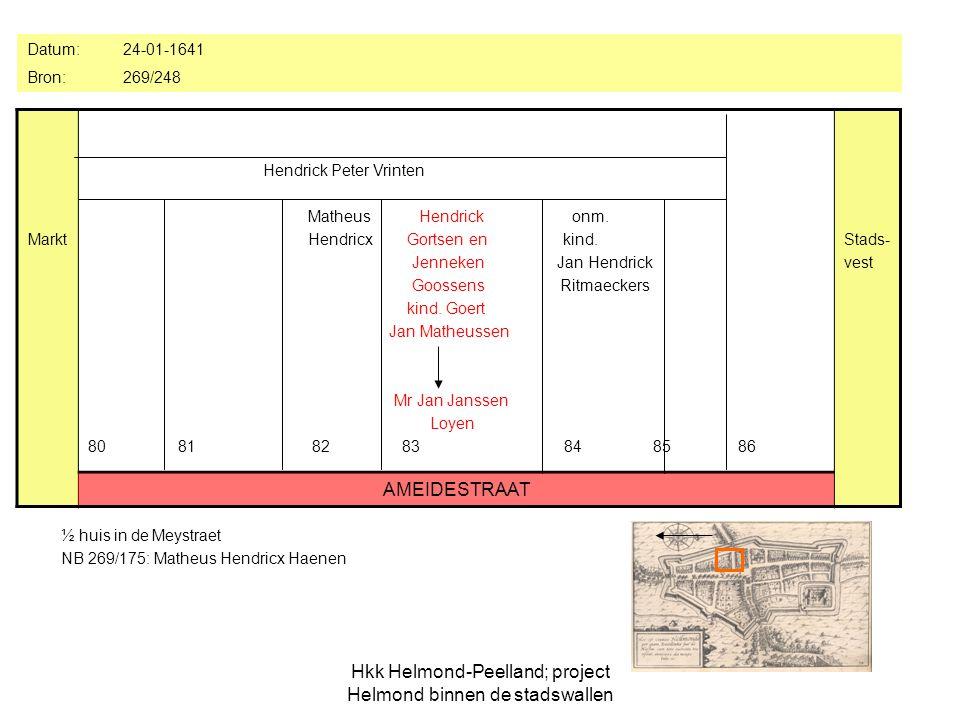 Hkk Helmond-Peelland; project Helmond binnen de stadswallen ½ huis in de Meystraet NB 269/175: Matheus Hendricx Haenen Markt Hendrick Peter Vrinten Matheus Hendrick onm.