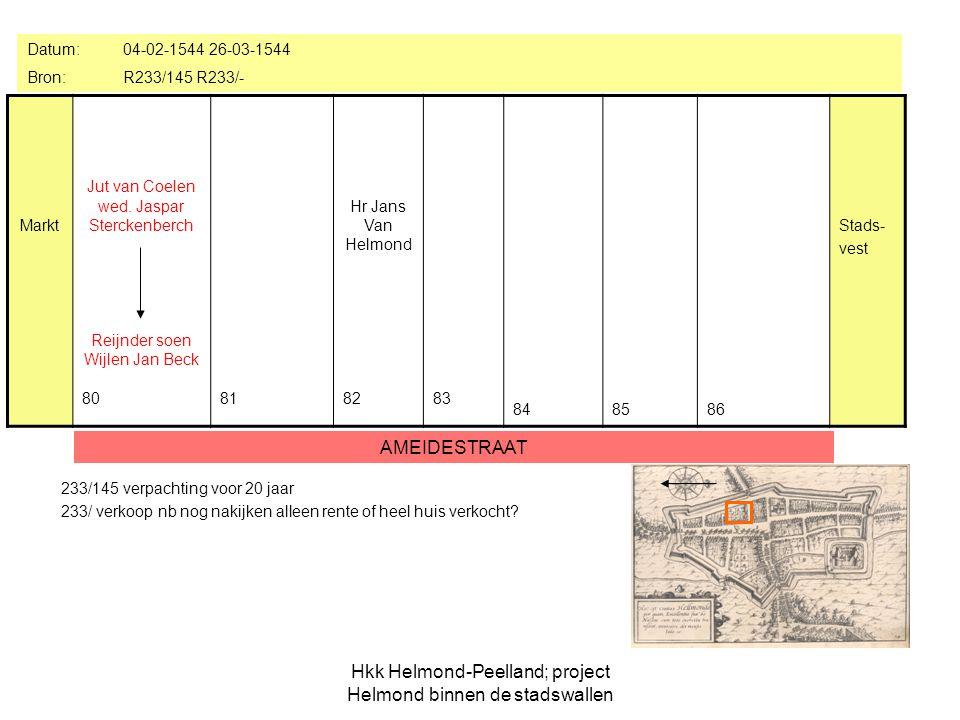 Hkk Helmond-Peelland; project Helmond binnen de stadswallen Huis aan de Meyepoort Markt 80 818283 84 85 Berthout Meijssen +kinderen Gerart Peters Van Brey 86 Stads- vest Datum: 13-12-1549 Bron:R235/484 AMEIDESTRAAT