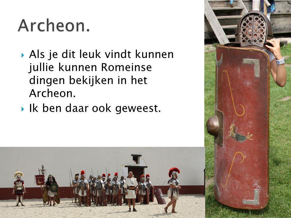  Als je dit leuk vindt kunnen jullie kunnen Romeinse dingen bekijken in het Archeon.  Ik ben daar ook geweest.