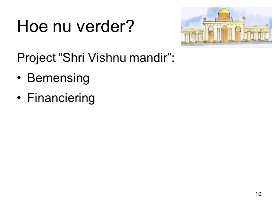 "10 Hoe nu verder? Project ""Shri Vishnu mandir"": Bemensing Financiering"