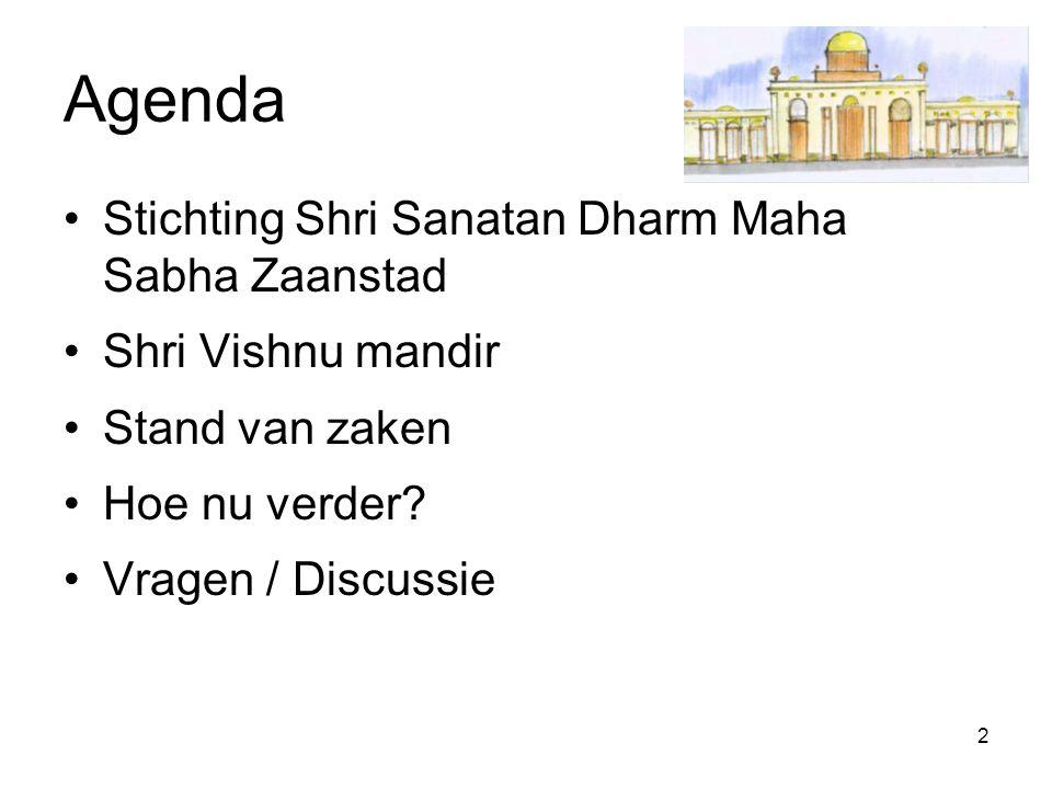2 Agenda Stichting Shri Sanatan Dharm Maha Sabha Zaanstad Shri Vishnu mandir Stand van zaken Hoe nu verder? Vragen / Discussie