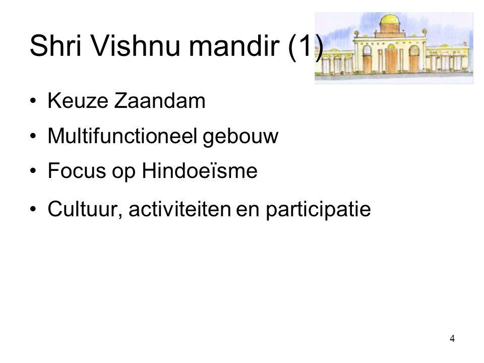 4 Shri Vishnu mandir (1) Keuze Zaandam Multifunctioneel gebouw Focus op Hindoeïsme Cultuur, activiteiten en participatie