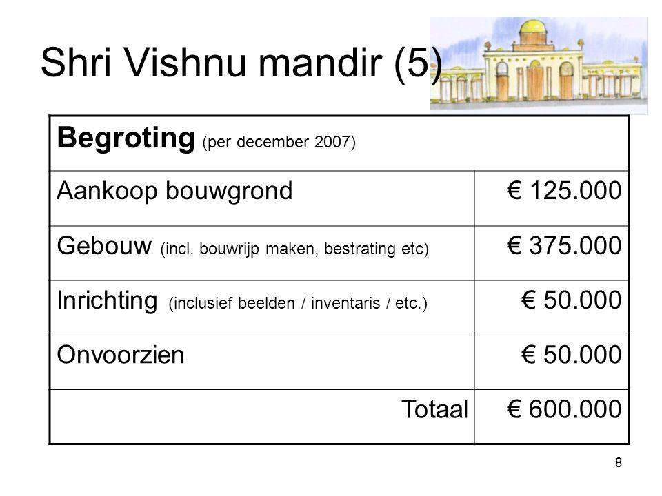 8 Shri Vishnu mandir (5) Begroting (per december 2007) Aankoop bouwgrond€ 125.000 Gebouw (incl. bouwrijp maken, bestrating etc) € 375.000 Inrichting (