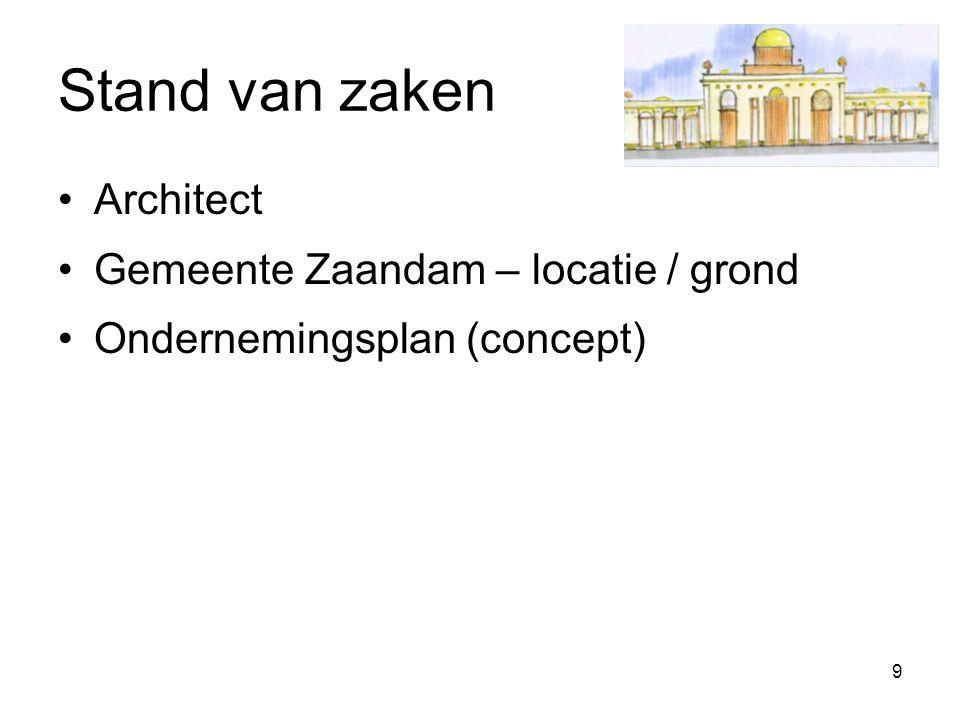 9 Stand van zaken Architect Gemeente Zaandam – locatie / grond Ondernemingsplan (concept)