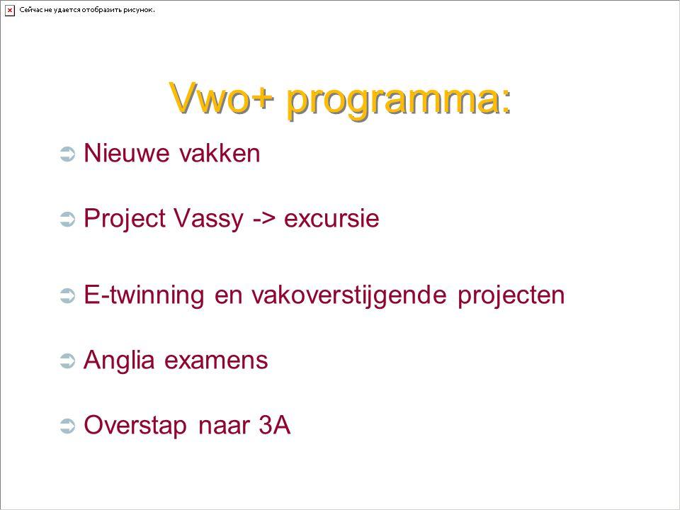 Vwo+ programma:  Nieuwe vakken  Project Vassy -> excursie  E-twinning en vakoverstijgende projecten  Anglia examens  Overstap naar 3A