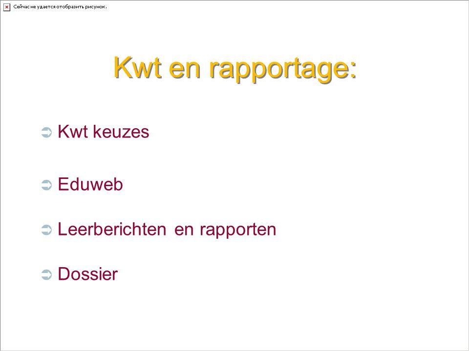 Kwt en rapportage:  Kwt keuzes  Eduweb  Leerberichten en rapporten  Dossier