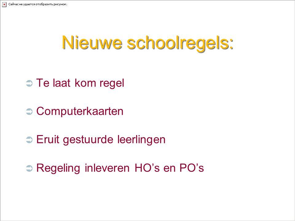Nieuwe schoolregels:  Te laat kom regel  Computerkaarten  Eruit gestuurde leerlingen  Regeling inleveren HO's en PO's