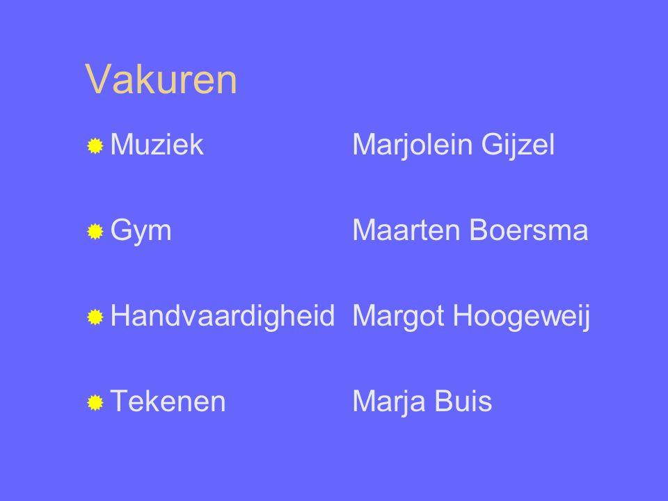 Vakuren  Muziek Marjolein Gijzel  GymMaarten Boersma  HandvaardigheidMargot Hoogeweij  TekenenMarja Buis