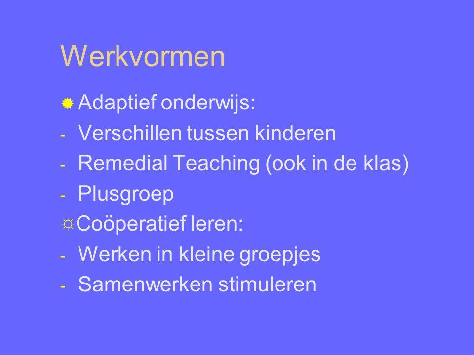 Werkvormen  Adaptief onderwijs: - Verschillen tussen kinderen - Remedial Teaching (ook in de klas) - Plusgroep ☼Coöperatief leren: - Werken in kleine groepjes - Samenwerken stimuleren