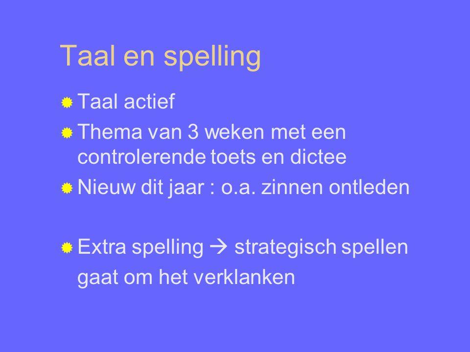 Taal en spelling  Taal actief  Thema van 3 weken met een controlerende toets en dictee  Nieuw dit jaar : o.a.