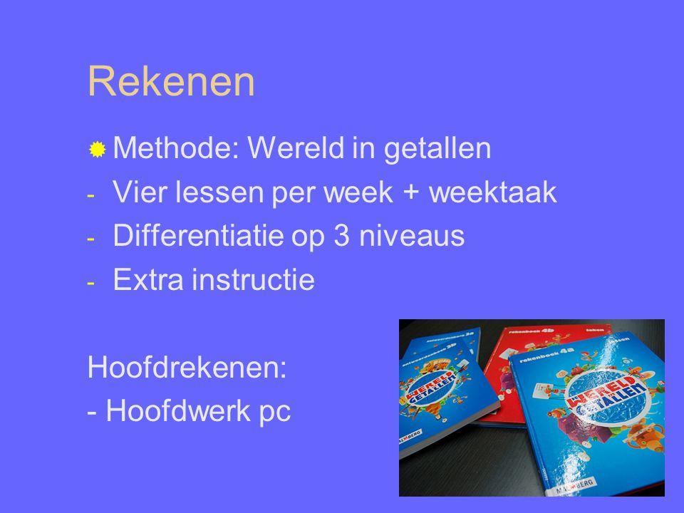 Rekenen  Methode: Wereld in getallen - Vier lessen per week + weektaak - Differentiatie op 3 niveaus - Extra instructie Hoofdrekenen: - Hoofdwerk pc