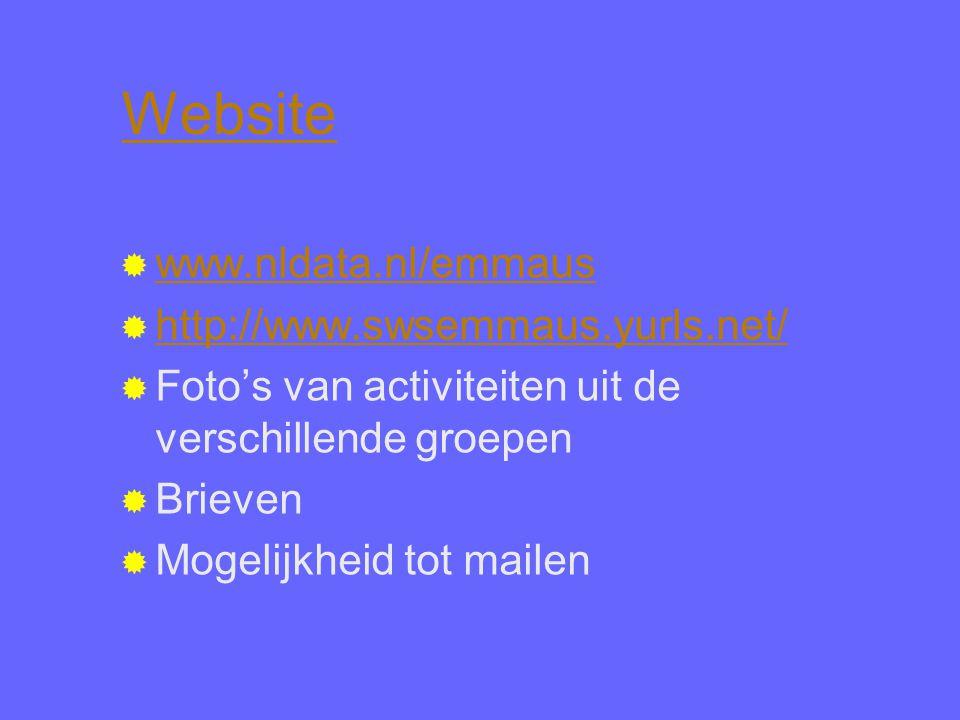 Website  www.nldata.nl/emmaus www.nldata.nl/emmaus  http://www.swsemmaus.yurls.net/ http://www.swsemmaus.yurls.net/  Foto's van activiteiten uit de verschillende groepen  Brieven  Mogelijkheid tot mailen