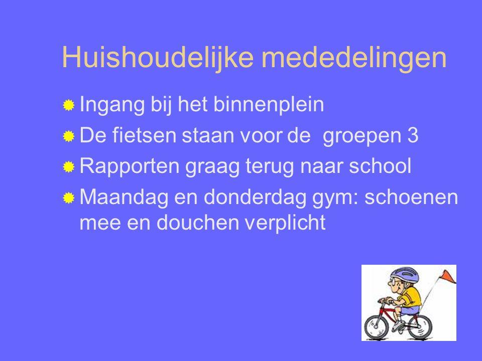 Huishoudelijke mededelingen  Ingang bij het binnenplein  De fietsen staan voor de groepen 3  Rapporten graag terug naar school  Maandag en donderdag gym: schoenen mee en douchen verplicht