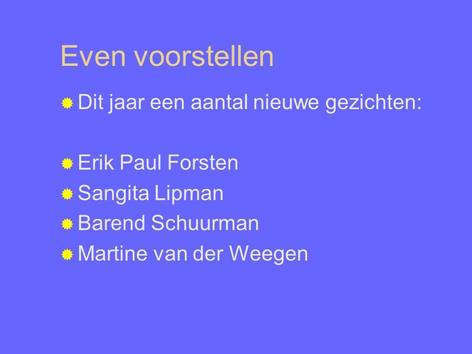 Even voorstellen  Dit jaar een aantal nieuwe gezichten:  Erik Paul Forsten  Sangita Lipman  Barend Schuurman  Martine van der Weegen