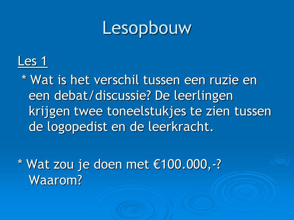 Lesopbouw Les 2 De logopedist en leerkracht houden een discussie.