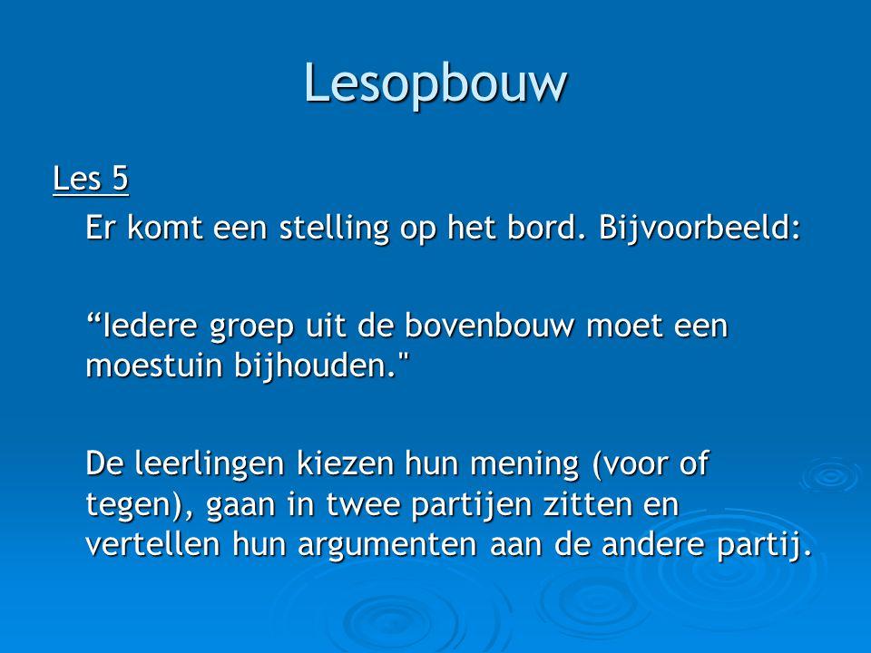 Lesopbouw Les 6 De jury wordt geïntroduceerd.