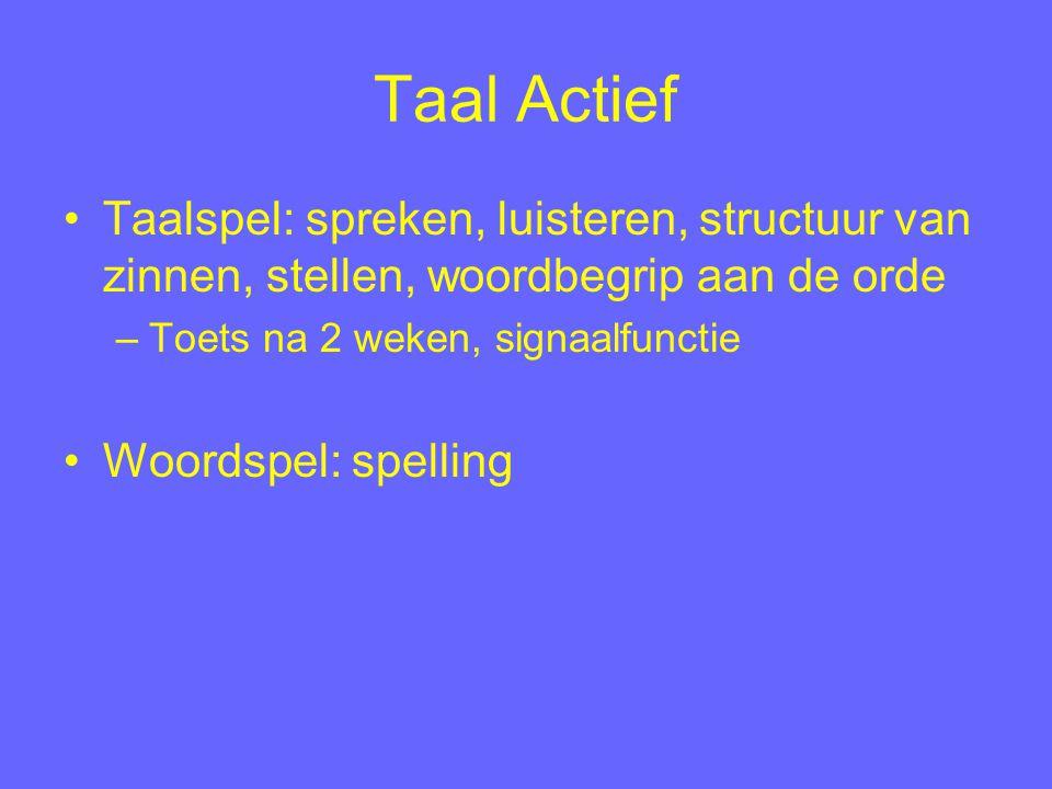 Taal Actief Taalspel: spreken, luisteren, structuur van zinnen, stellen, woordbegrip aan de orde –Toets na 2 weken, signaalfunctie Woordspel: spelling