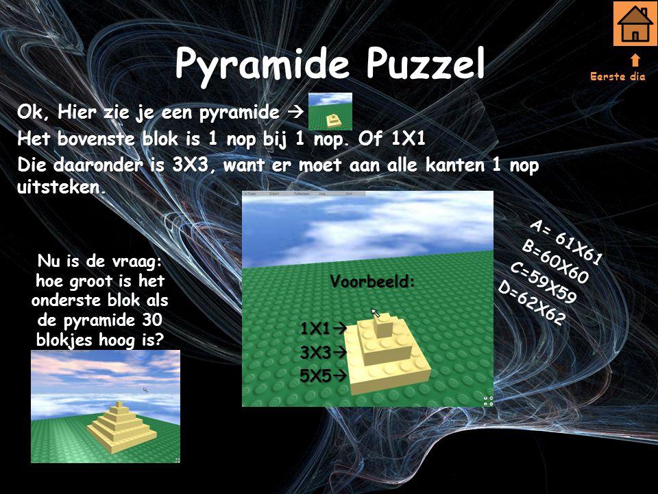 Pyramide Puzzel Ok, Hier zie je een pyramide  Het bovenste blok is 1 nop bij 1 nop.