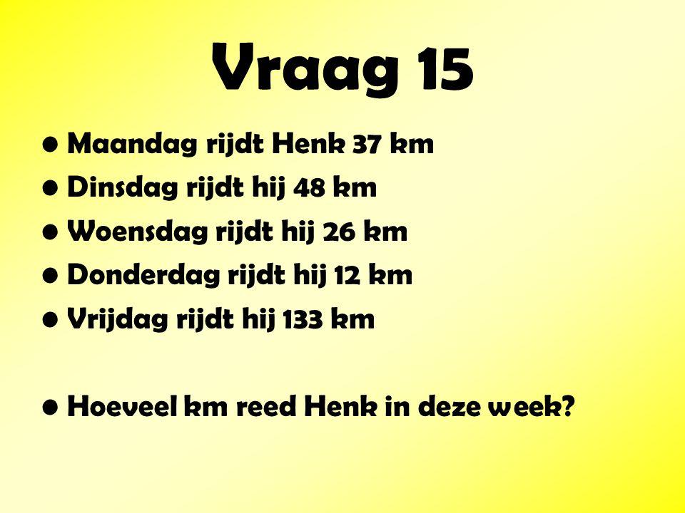 Vraag 15 Maandag rijdt Henk 37 km Dinsdag rijdt hij 48 km Woensdag rijdt hij 26 km Donderdag rijdt hij 12 km Vrijdag rijdt hij 133 km Hoeveel km reed Henk in deze week?