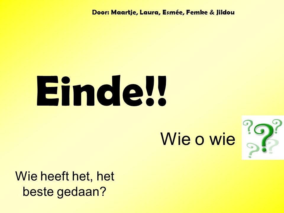 Einde!! Wie heeft het, het beste gedaan? Wie o wie Door: Maartje, Laura, Esmée, Femke & Jildou