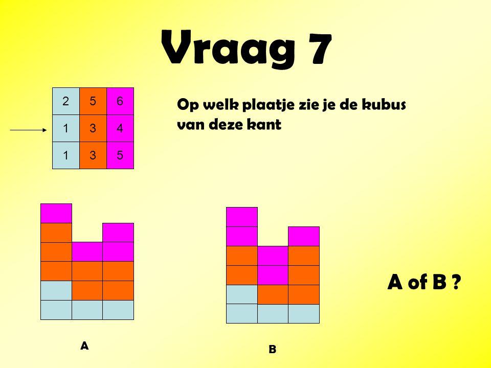 Vraag 7 256 134 135 Op welk plaatje zie je de kubus van deze kant A B A of B ?
