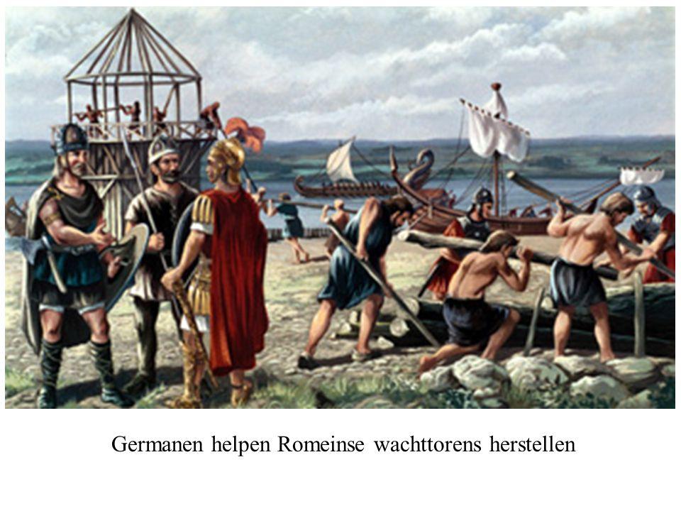 Germanen helpen Romeinse wachttorens herstellen