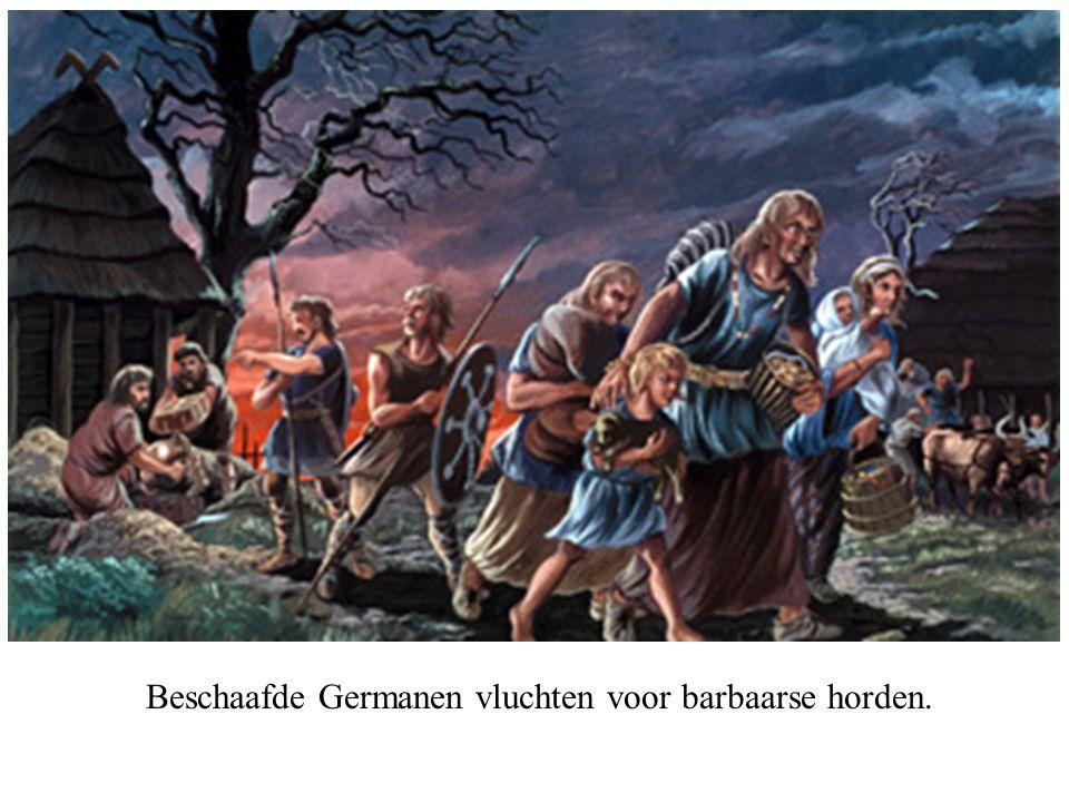 Beschaafde Germanen vluchten voor barbaarse horden.