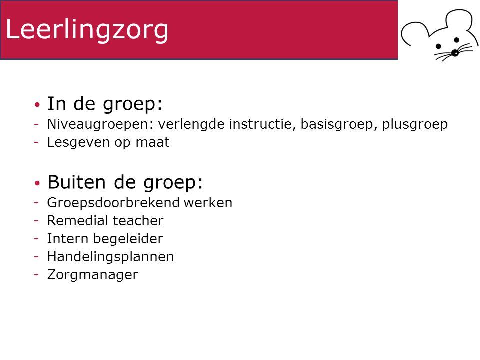 Leerlingzorg In de groep: -Niveaugroepen: verlengde instructie, basisgroep, plusgroep -Lesgeven op maat Buiten de groep: -Groepsdoorbrekend werken -Remedial teacher -Intern begeleider -Handelingsplannen -Zorgmanager