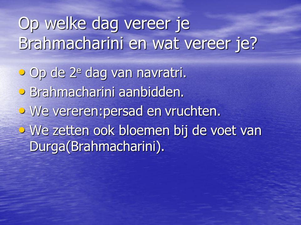 Op welke dag vereer je Brahmacharini en wat vereer je? Op de 2 e dag van navratri. Op de 2 e dag van navratri. Brahmacharini aanbidden. Brahmacharini