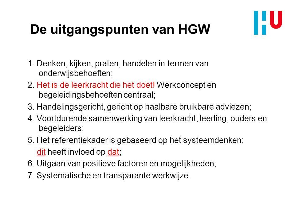 De uitgangspunten van HGW 1. Denken, kijken, praten, handelen in termen van onderwijsbehoeften; 2. Het is de leerkracht die het doet! Werkconcept en b