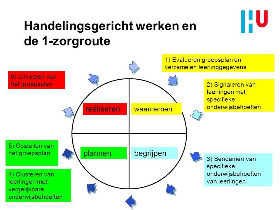 Handelingsgericht werken en de 1-zorgroute waarnemen begrijpenplannen realiseren 1) Evalueren groepsplan en verzamelen leerlinggegevens 2) Signaleren