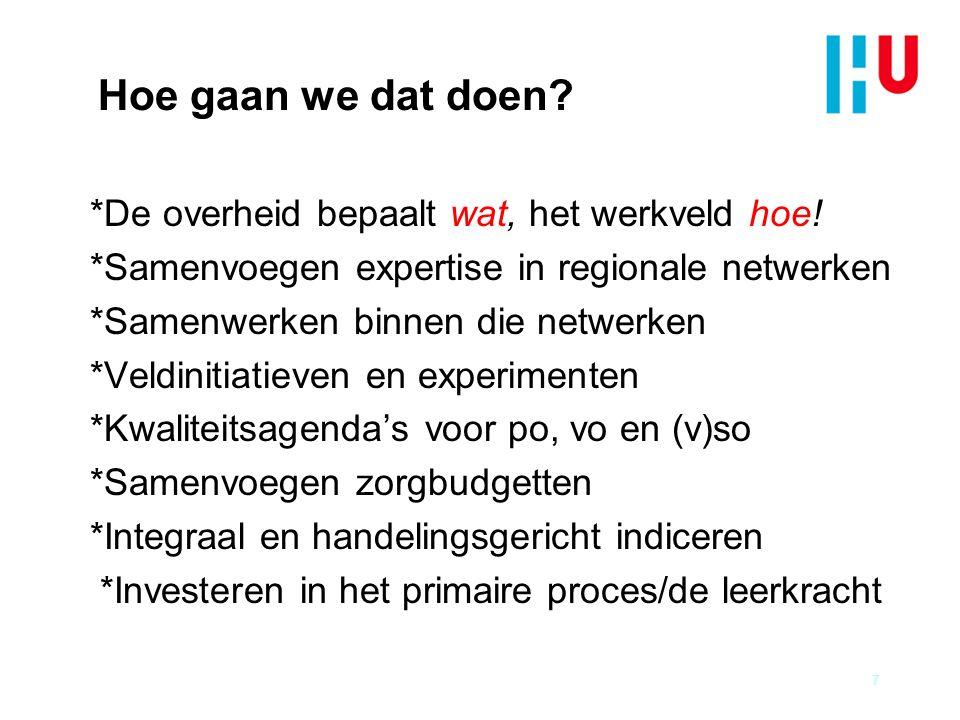Hoe gaan we dat doen? *De overheid bepaalt wat, het werkveld hoe! *Samenvoegen expertise in regionale netwerken *Samenwerken binnen die netwerken *Vel