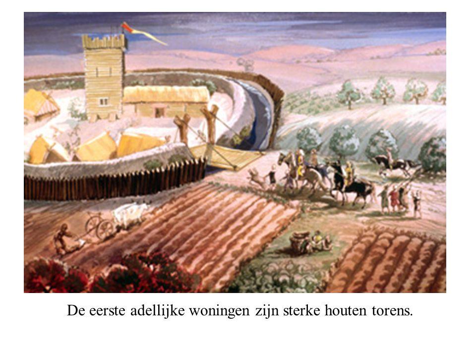 De eerste adellijke woningen zijn sterke houten torens.