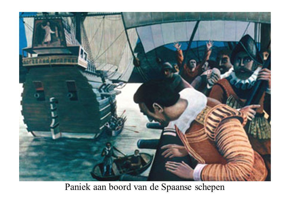 Paniek aan boord van de Spaanse schepen