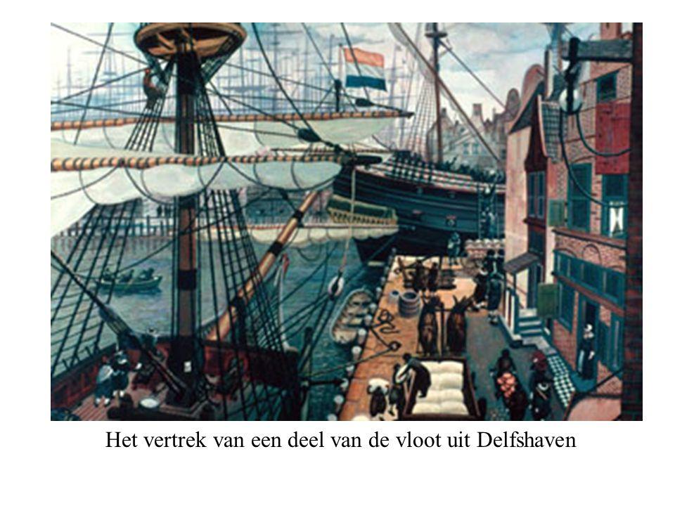 Het vertrek van een deel van de vloot uit Delfshaven