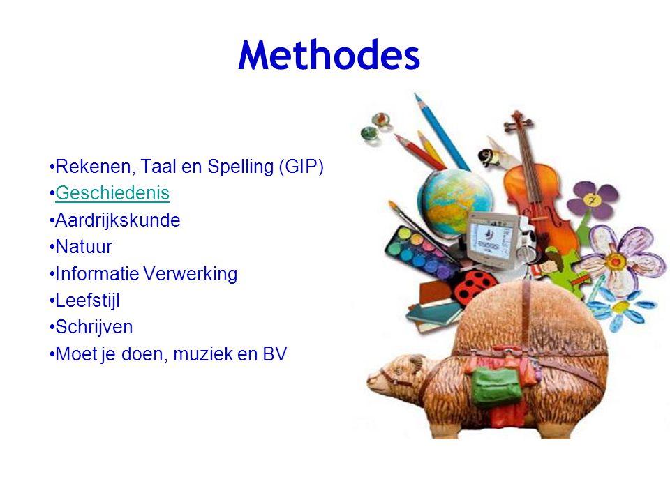 Methodes Rekenen, Taal en Spelling (GIP) Geschiedenis Aardrijkskunde Natuur Informatie Verwerking Leefstijl Schrijven Moet je doen, muziek en BV