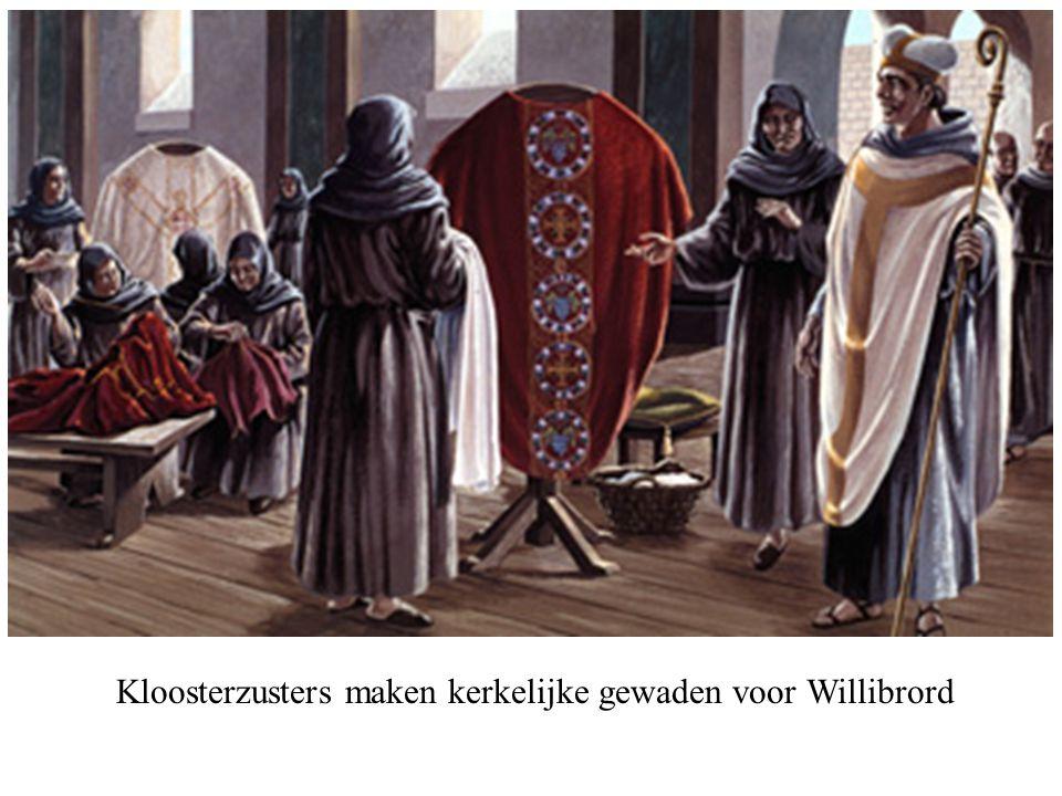 Kloosterzusters maken kerkelijke gewaden voor Willibrord