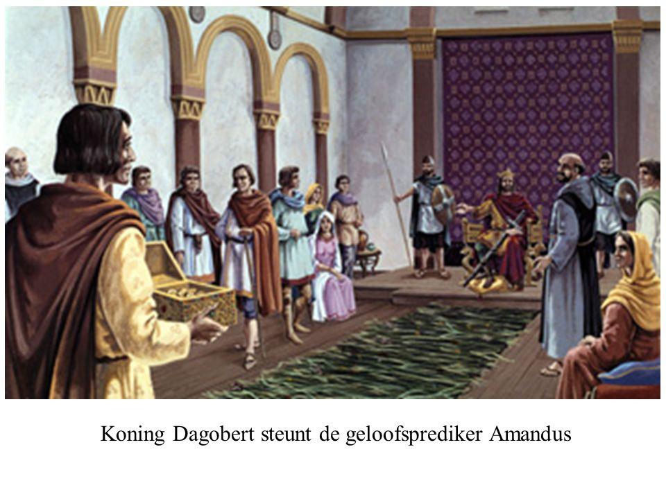 Koning Dagobert steunt de geloofsprediker Amandus