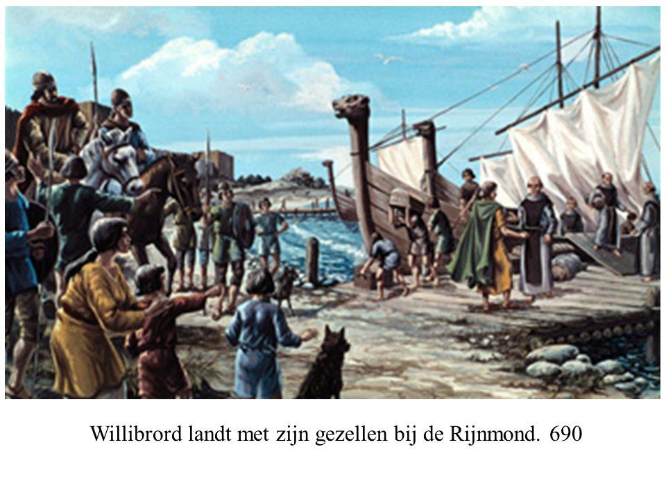 Willibrord landt met zijn gezellen bij de Rijnmond. 690