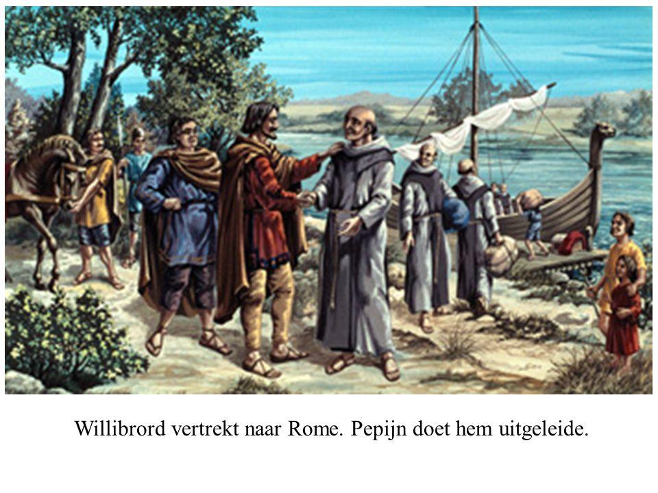 Willibrord vertrekt naar Rome. Pepijn doet hem uitgeleide.