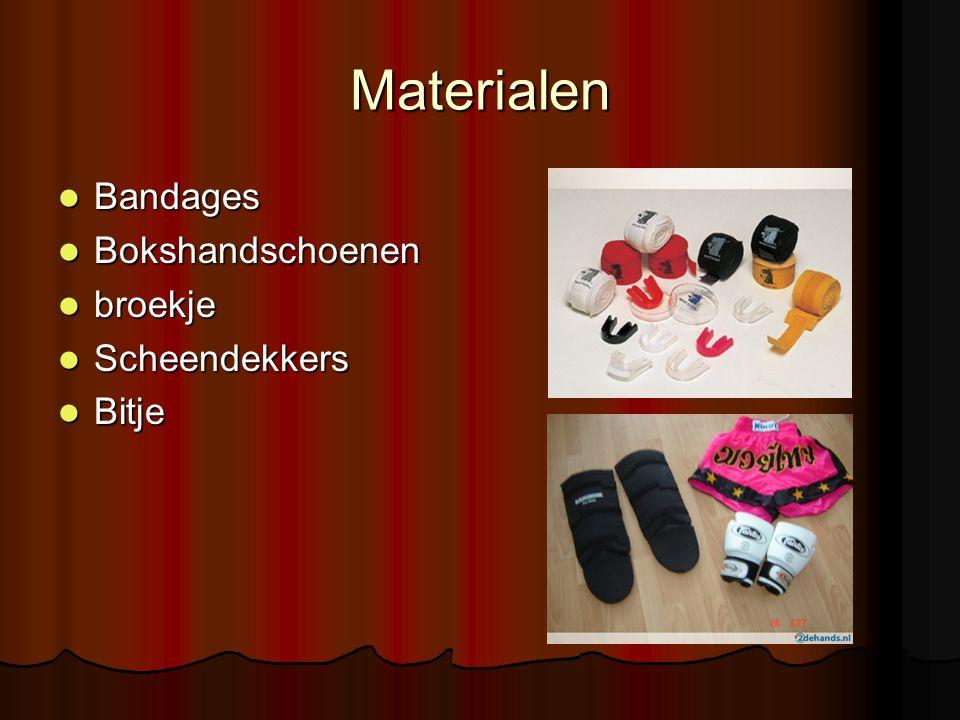Materialen Bandages Bandages Bokshandschoenen Bokshandschoenen broekje broekje Scheendekkers Scheendekkers Bitje Bitje