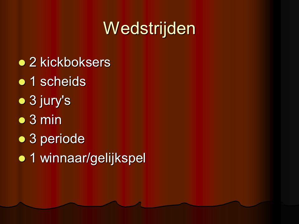 Wedstrijden 2 kickboksers 2 kickboksers 1 scheids 1 scheids 3 jury's 3 jury's 3 min 3 min 3 periode 3 periode 1 winnaar/gelijkspel 1 winnaar/gelijkspe